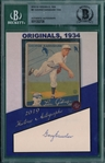 2019 Historic Autographs, 1934 Goudey, #41 George Earnshaw, 17/26, Beckett Authentic
