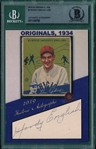 2019 Historic Autographs, 1934 Goudey, #4 Woody English, 13/28, Beckett Authentic