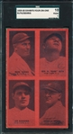 1929-30 Exhibits Four-On-One W/ Durocher, Gehrig & Babe Ruth, PC Back, SGC 10 *Red*