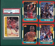 1986 Fleer BSKT Near Set (131/132) W/ Stickers, Jordan PSA 8