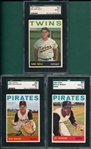1964 Topps #54 Mele, #326 Brand & #525 McBean, Hi #, Lot of (3) SGC 92