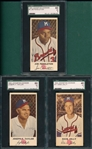 1954 Johnston Cookies Taylor, #3 Pendleton & #17 Jolly, Lot of (3) SGC