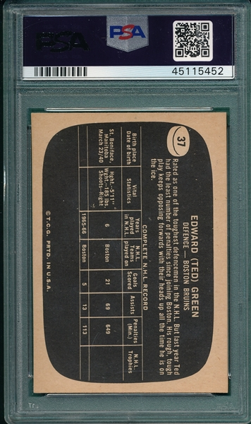 1966 Topps HCKY USA Test #37 Ted Green PSA 4