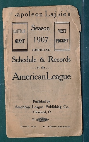 1907 Napoleon Lajoie's Pocket Schedule & Records, American League