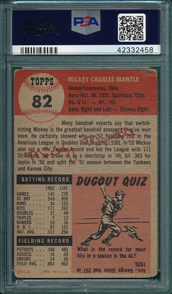 1953 Topps #82 Mickey Mantle PSA 1.5