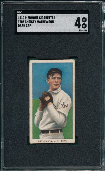 1909-1911 T206 Christy Mathewson, Dark Cap, Piedmont Cigarettes SGC 4