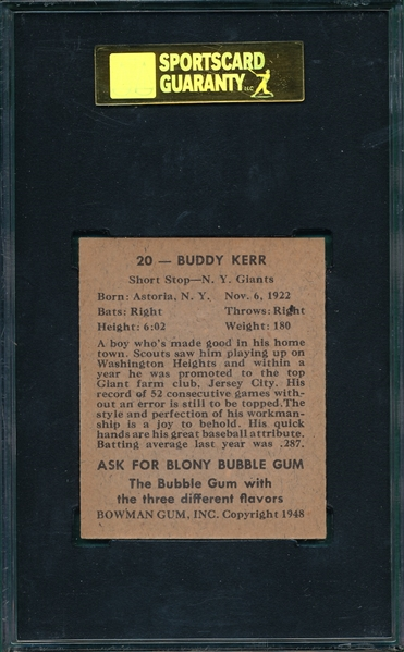 1948 Bowman #20 Buddy Kerr SGC 84 *SP*