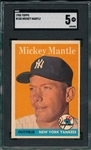 1958 Topps #150 Mickey Mantle SGC 5