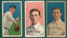 1909-1911 T206 Hal Chase, Pink, Blue & Dark Cap, Lot of (3)