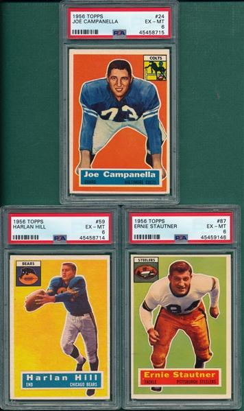 1956 Topps FB Lot of (5) W/ #87 Stautner PSA 6