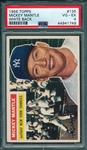 1956 Topps #135 Mickey Mantle PSA 4 *White* *Nice Centering*