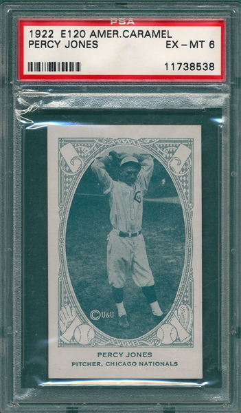 1922 E120 Jones, Percy, American Caramel Co. PSA 6 *Highest Graded*