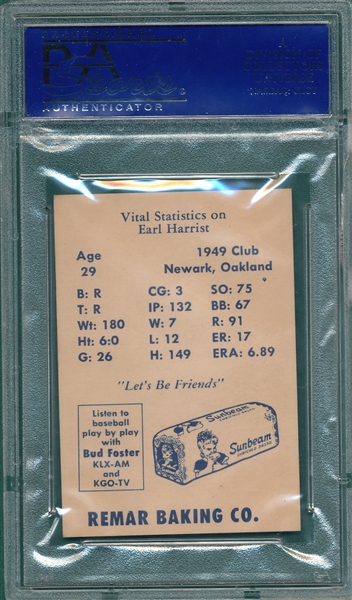 1950 Remar Bread Earl Harrist PSA 9 *MINT* *Highest Graded*