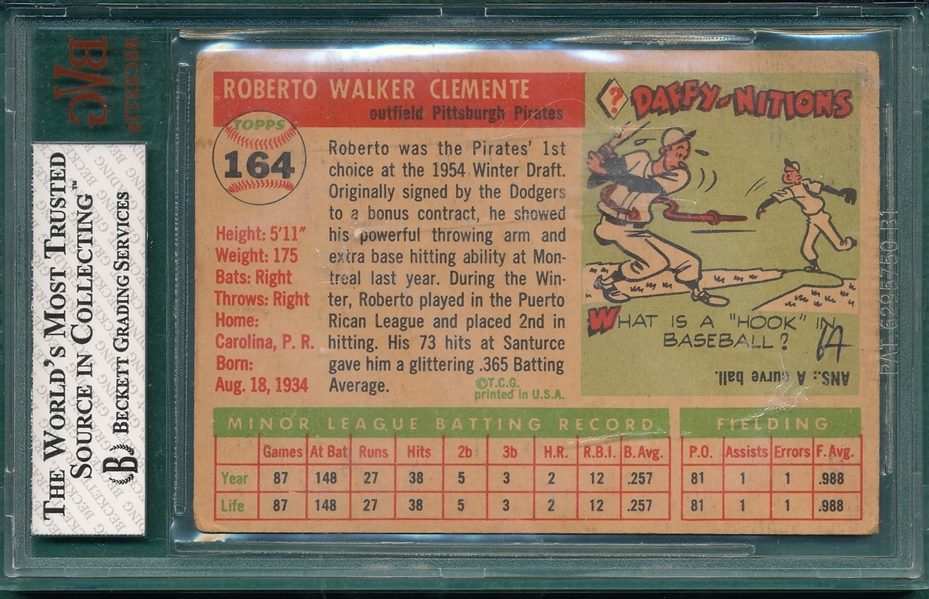 1955 Topps #164 Roberto Clemente BVG 2 *Rookie*