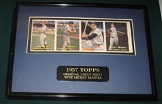 1957 Topps Four Card Uncut Strip Framed W/ Mickey Mantle