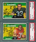 1968 Topps FB #37 Cannon & #64 Dixon, Lot of (2), PSA 8