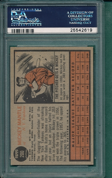 1962 Topps #200 Mickey Mantle PSA 7