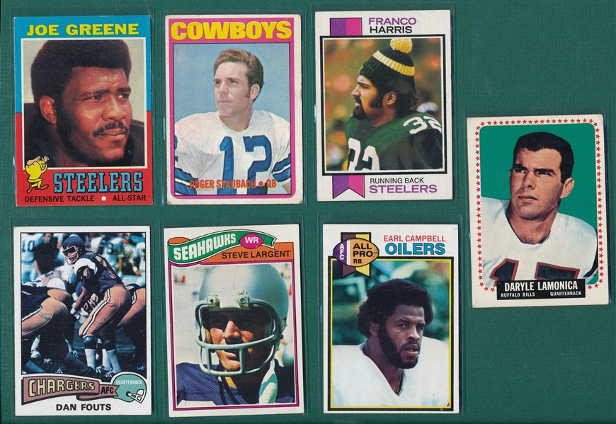 1964-79 Topps FB Rookies Lot of (7) W/ Staubach