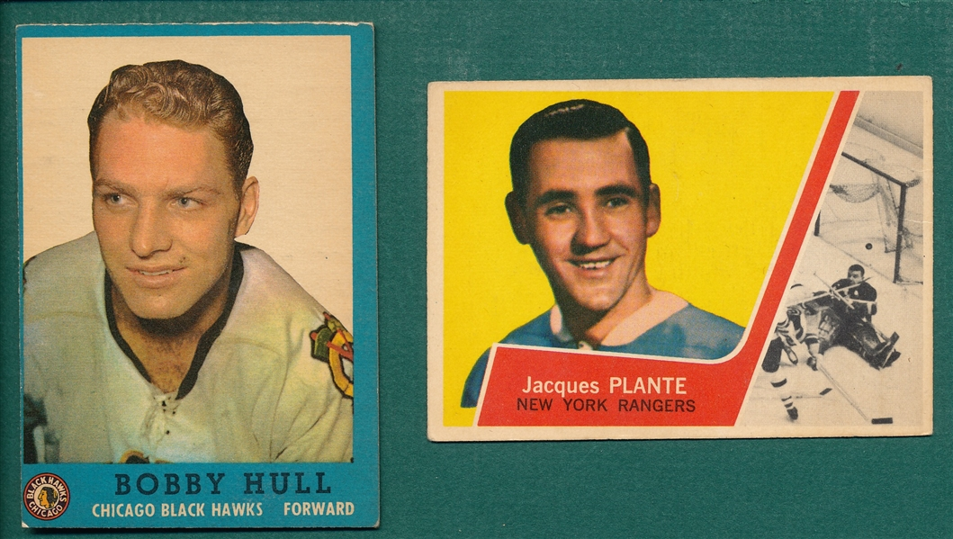 1962 Topps HCKY #33 Bobby Hull & 1963 #45 Jacques Plante, Lot of (2)