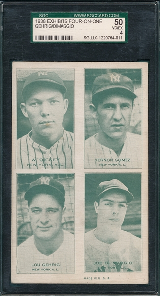 1938 Exhibits Four-On-One W/ Gehrig & DiMaggio, SGC 50