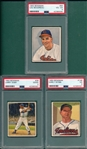 1950 Bowman #39 Doby, #94 Bordreau & #148 Wynn, Lot of (3) PSA