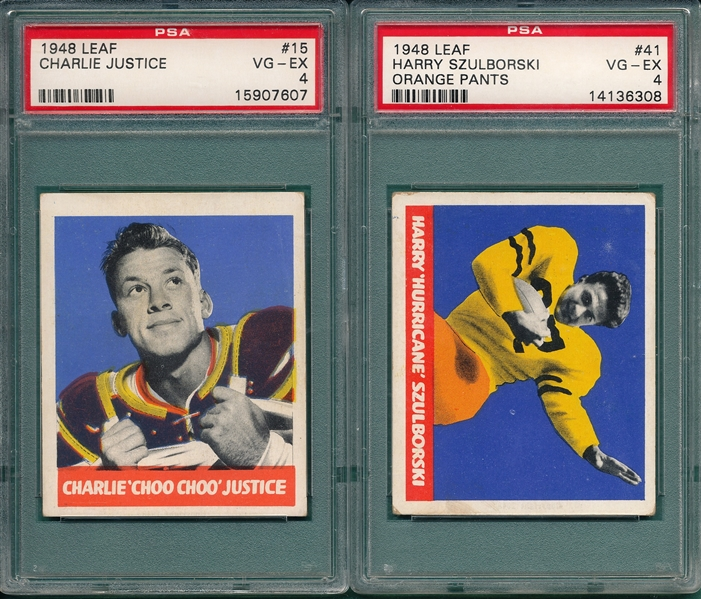 1948 Leaf FB #15 Justice & #41 Szulborski, Orange Pants, Lot of (2) PSA 4