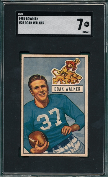 1951 Bowman FB #25 Doak Walker SGC 7