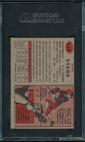 1957 Topps #119 Bart Starr SGC 5 *Rookie*