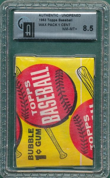 1963 Topps Baseball Unopened Wax Pack, 1 Cent Pack GAI 8.5