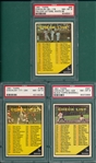 1961 Topps Lot of (3) Checklists #98, #189 & #361, PSA 8