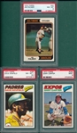 1974/77 Topps Lot of (3) HOFers, Palmer, Winfield & Carter PSA