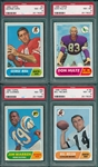 1968 Topps FB Lot of (4) W/ #9 Mira PSA 8