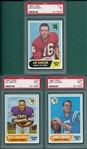 1968 Topps FB #133 Bill Brown, #185 Cuozzo & #171 Dawson, Lot of (3) PSA
