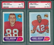 1968 Topps FB #043 Burford & #174 Wright Lot of (2) PSA 8