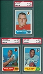 1968 Topps FB #17 Hickey, #26 Walker & #120 Blanks, Lot of (3) PSA 8.5