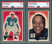 1955 Bowman FB #65 Young & #107 Spinney, Lot of (2) PSA 7