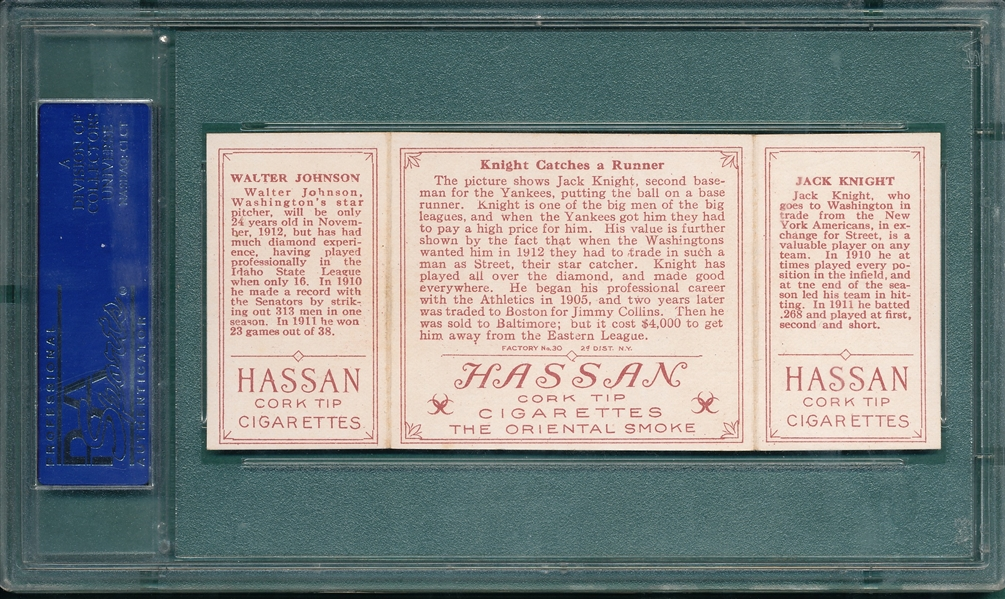 1912 T202 Knight Catches A Runner, Knight/Johnson, Hassan Cigarettes PSA 7