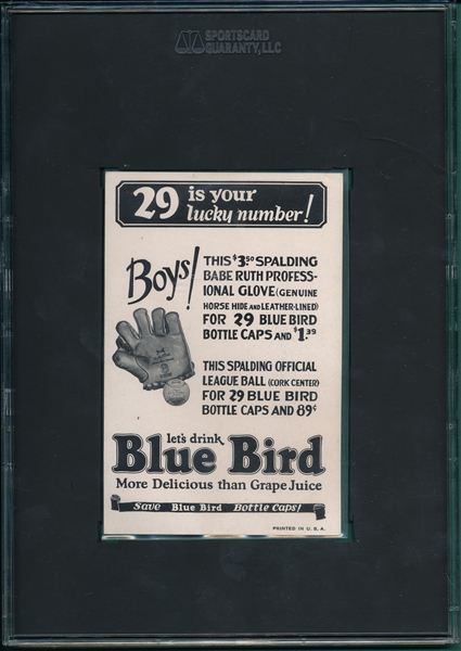 1933 Blue Bird, Babe Ruth, Front View, SGC 5