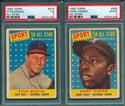 1958 Topps #476 Stan Musial, AS, & #488 Aaron, AS, Lot of (2) PSA