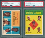 1961 Topps #43 NL Home Run W/ Banks & Aaron, PSA 3 & 1963 Topps #1 NL Batting W/ Musial & Aaron, PSA 6, Lot of (2)