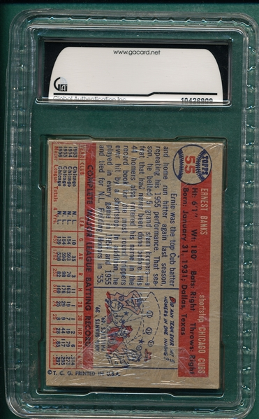 1957 Topps Unopened Cello Pack W/ Banks On Back GAI 7