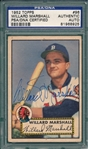1952 Topps #96 Willard Marshall, Signed, PSA/DNA Certified