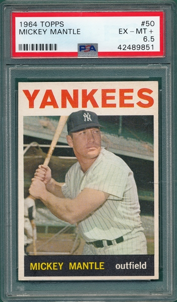 1964 Topps #50 Mickey Mantle PSA 6.5