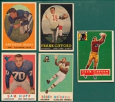 1956-59 Topps FB Lot of (5) W/ 59 Mitchell, Rookie