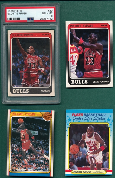 1988 Fleer Basketball Complete Set W/ Stickers & Pippen PSA 8