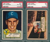 1952 Topps #92 Mitchell & #211 Coleman, Lot of (2), PSA