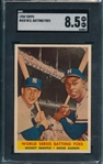 1958 Topps #418 World Series Batting Foes W/ Aaron & Mantle SGC 8.5