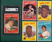 1959 Topps Baseball Near Set (549/572) W/ Mantle SGC 5