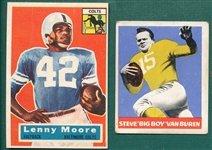 1948 Leaf FB #22 Van Buren & 1956 Topps #60 Moore, Lot of (2) Rookies